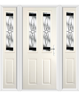 The Cardiff Composite Door in Cream with Black Crystal Harmony and matching Side Panels