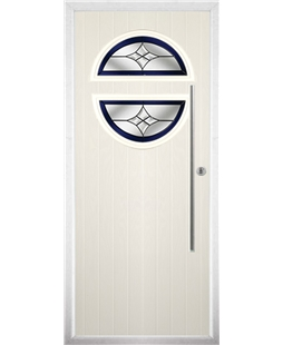 The Xenia Composite Door in Cream with Blue Crystal Harmony