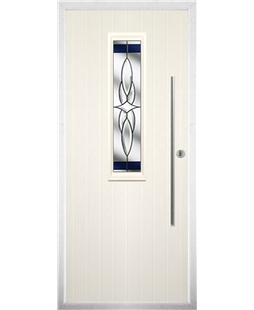 The York Composite Door in Cream with Blue Crystal Harmony