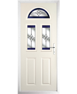 The Glasgow Composite Door in Cream with Blue Crystal Harmony