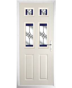 The Oxford Composite Door in Cream with Blue Crystal Harmony