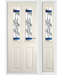 The Aberdeen Composite Door in Cream with Blue Crystal Harmony and matching Side Panel