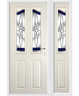 The Birmingham Composite Door in Cream with Blue Crystal Harmony and matching Side Panel