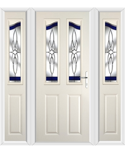 The Birmingham Composite Door in Cream with Blue Crystal Harmony and matching Side Panels