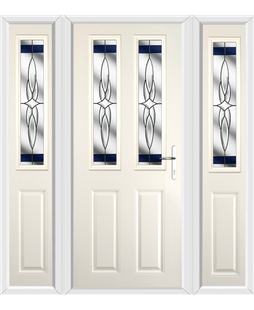 The Cardiff Composite Door in Cream with Blue Crystal Harmony and matching Side Panels