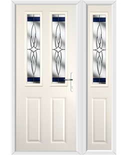The Cardiff Composite Door in Cream with Blue Crystal Harmony and matching Side Panel