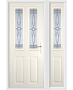 The Cardiff Composite Door in Cream with Crystal Harmony Frost and matching Side Panel