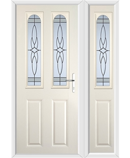 The Aberdeen Composite Door in Cream with Crystal Harmony Frost and matching Side Panel