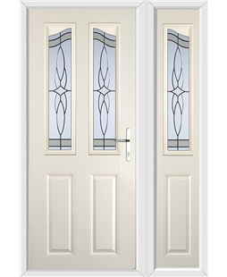 The Birmingham Composite Door in Cream with Crystal Harmony Frost and matching Side Panel