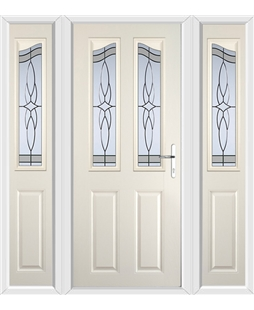 The Birmingham Composite Door in Cream with Crystal Harmony Frost and matching Side Panels