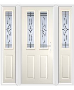 The Cardiff Composite Door in Cream with Crystal Harmony Frost and matching Side Panels