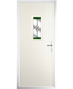 The Taunton Composite Door in Cream with Green Crystal Harmony