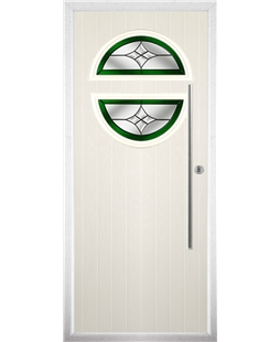 The Xenia Composite Door in Cream with Green Crystal Harmony