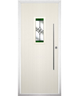 The Zetland Composite Door in Cream with Green Crystal Harmony
