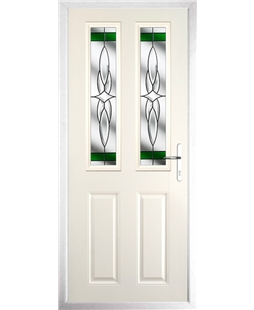 The Cardiff Composite Door in Cream with Green Crystal Harmony
