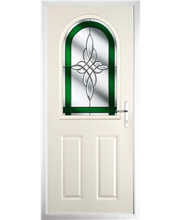 The Edinburgh Composite Door in Cream with Green Crystal Harmony