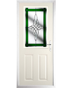 The Farnborough Composite Door in Cream with Green Crystal Harmony