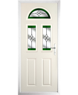 The Glasgow Composite Door in Cream with Green Crystal Harmony