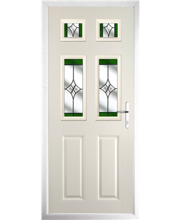The Oxford Composite Door in Cream with Green Crystal Harmony