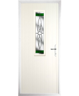 The Sheffield Composite Door in Cream with Green Crystal Harmony