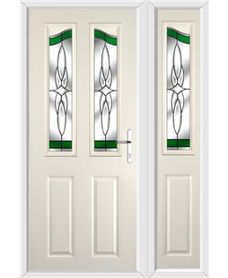 The Birmingham Composite Door in Cream with Green Crystal Harmony and matching Side Panel