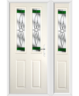 The Cardiff Composite Door in Cream with Green Crystal Harmony and matching Side Panel