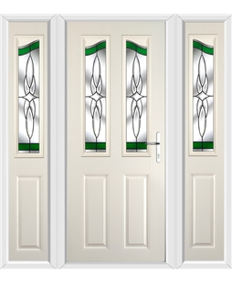 The Birmingham Composite Door in Cream with Green Crystal Harmony and matching Side Panels
