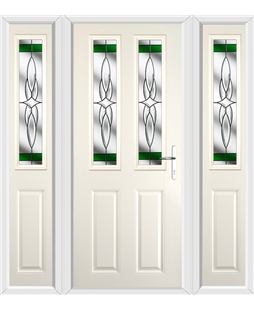 The Cardiff Composite Door in Cream with Green Crystal Harmony and matching Side Panels