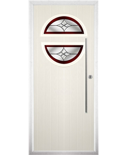 The Xenia Composite Door in Cream with Red Crystal Harmony