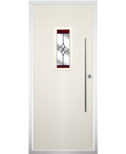 The Zetland Composite Door in Cream with Red Crystal Harmony