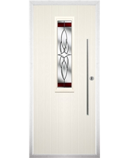 The York Composite Door in Cream with Red Crystal Harmony