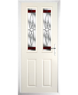 The Cardiff Composite Door in Cream with Red Crystal Harmony