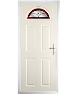 The Derby Composite Door in Cream with Red Crystal Harmony