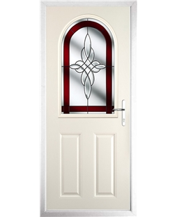 The Edinburgh Composite Door in Cream with Red Crystal Harmony