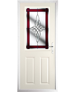 The Farnborough Composite Door in Cream with Red Crystal Harmony