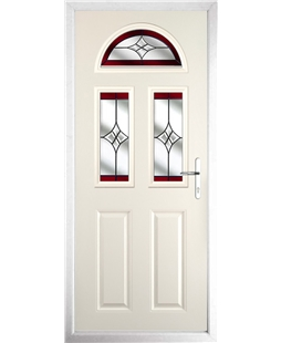 The Glasgow Composite Door in Cream with Red Crystal Harmony