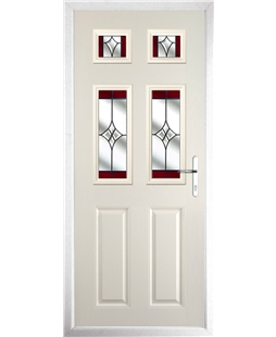 The Oxford Composite Door in Cream with Red Crystal Harmony