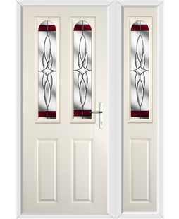 The Aberdeen Composite Door in Cream with Red Crystal Harmony and matching Side Panel