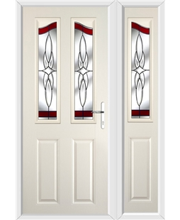 The Birmingham Composite Door in Cream with Red Crystal Harmony and matching Side Panel