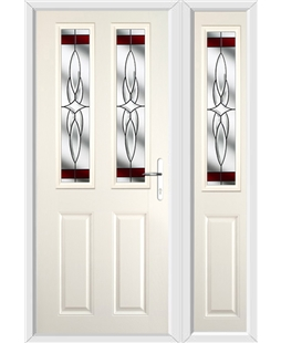 The Cardiff Composite Door in Cream with Red Crystal Harmony and matching Side Panel