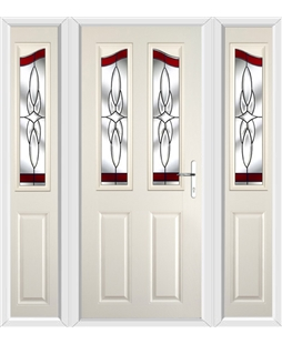 The Birmingham Composite Door in Cream with Red Crystal Harmony and matching Side Panels