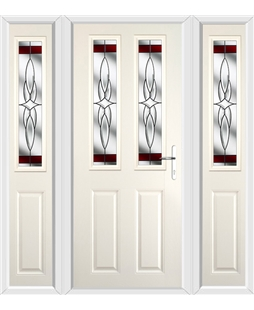 The Cardiff Composite Door in Cream with Red Crystal Harmony and matching Side Panels