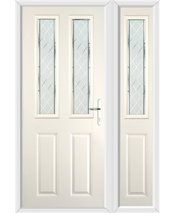 The Cardiff Composite Door in Cream with Diamond Cut and matching Side Panel