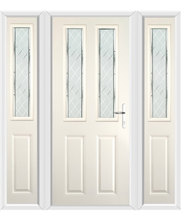The Cardiff Composite Door in Cream with Diamond Cut and matching Side Panels