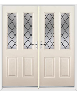 Jacobean French Rockdoor in Cream with Diamond Lead