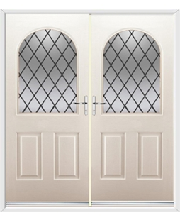 Kentucky French Rockdoor in Cream with Diamond Lead