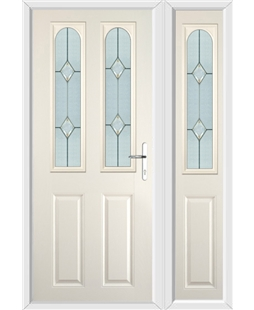 The Aberdeen Composite Door in Cream with Classic Glazing and matching Side Panel