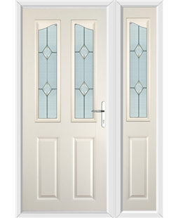The Birmingham Composite Door in Cream with Classic Glazing and matching Side Panel