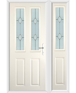 The Cardiff Composite Door in Cream with Classic Glazing and matching Side Panel