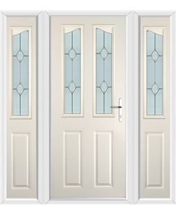 The Birmingham Composite Door in Cream with Classic Glazing and matching Side Panels